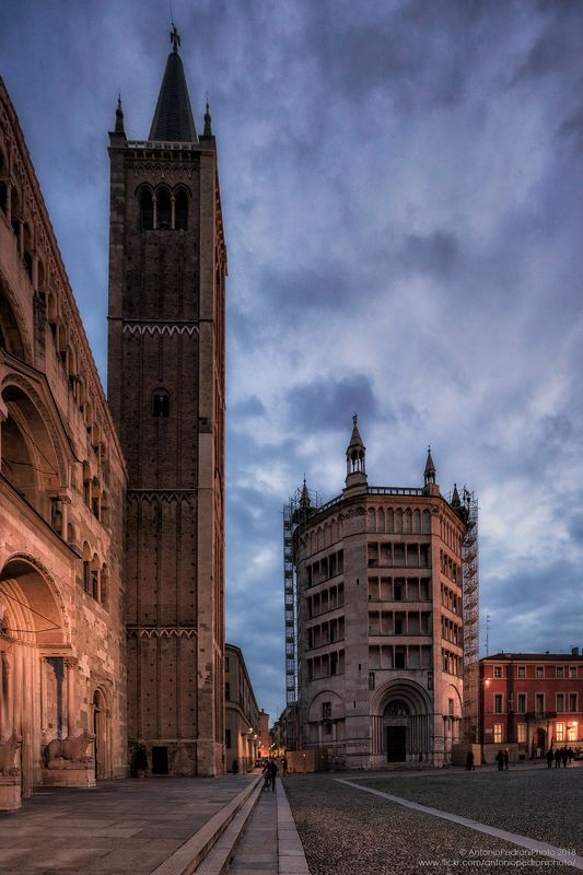 Parma, Italy, city, town, light, street, road, church, cathedral, night, evening A night in Parmaphoto preview
