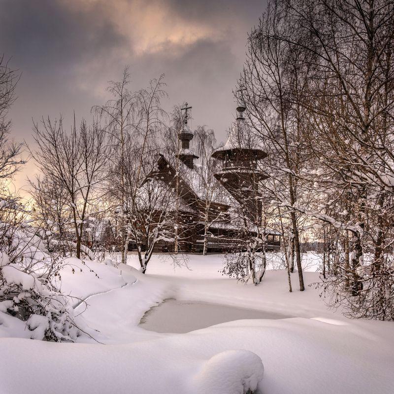 Зима,снег,храм,подмосковье Зимнее благолепиеphoto preview