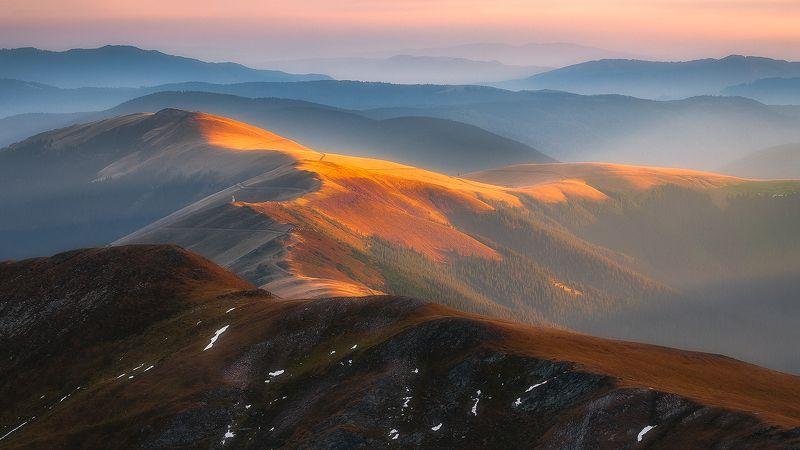 fagaras, romania, mountain, landscape, valley, sunset Golden Valleyphoto preview