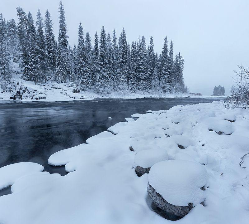 паанаярви, карелия, зима Пасмурный вечер на реке Олангаphoto preview