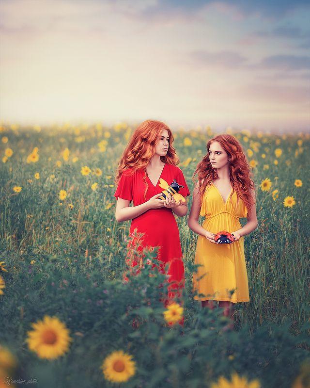 девушка, дети, ребенок, портрет, рыжая, желтый, красный, весна, лето, подсолнухи, цветы, настроение, винтаж, girl, children, portrait, sister, yellow, red, red hair, red head, ginger, sunflower, spring, summer photo preview