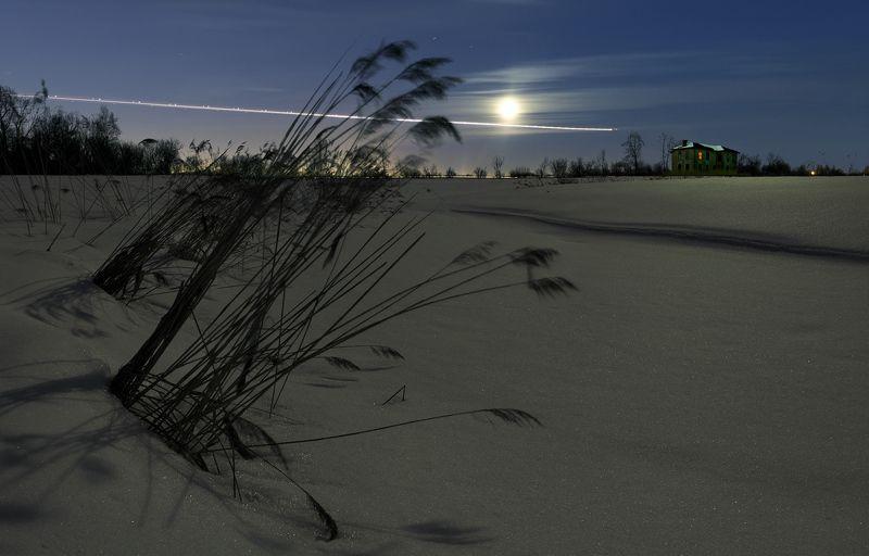 длинная выдержка,  панорама, зима, ночь, луна, полнолуние, ~135~photo preview