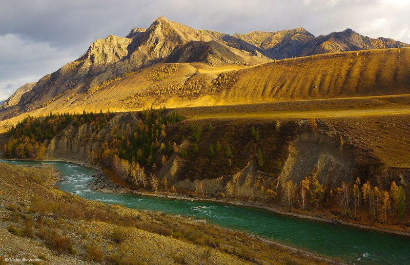 алтай, чуя, река, горы, осень, вечер Чуя. Октябрь. Перед закатом.photo preview