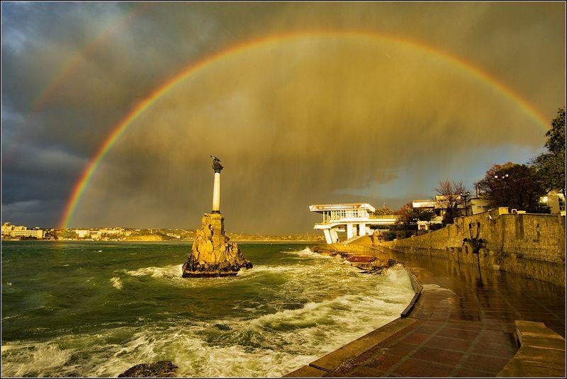 крым, севастополь, осень, бухта, шторм, радуга Радуга над бухтойphoto preview