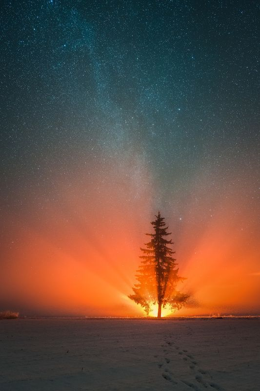 fire night milkyway latvia art nature Light powerphoto preview