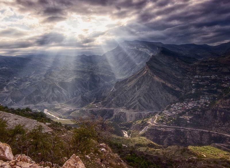 кавказ,горный дагестан,высокогорное село,вечерний свет. Гуниб.photo preview