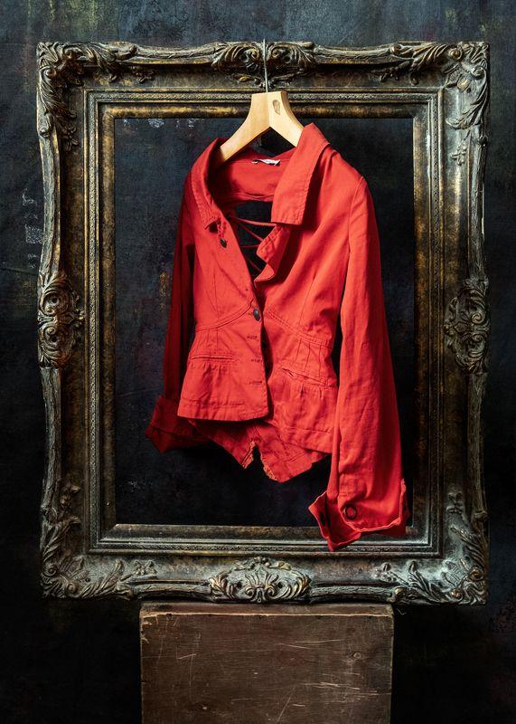 портрет, пиджак, красный, рама Портрет пиджакаphoto preview