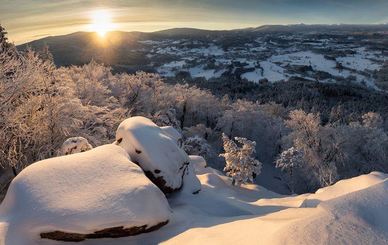poland, sunrise, landscape, rudawy, karkonosze, sudety, morning WInter sunrisephoto preview