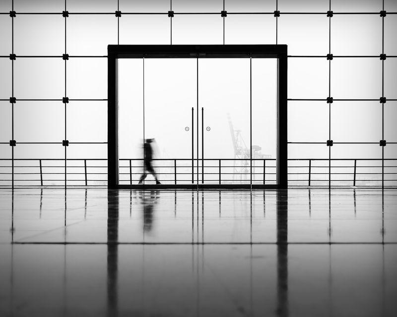 street, urban, person, fog, hamburg, harbour, window gate to harbourphoto preview