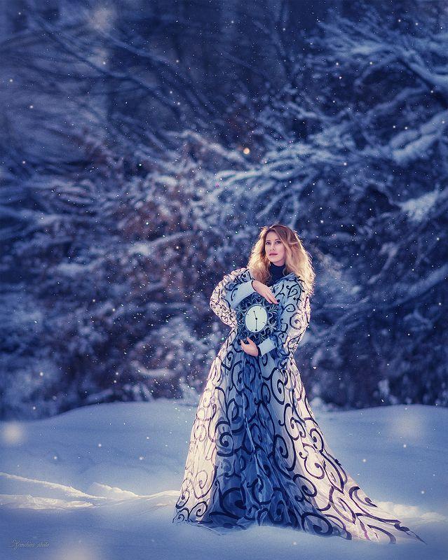девушка, портрет, зима, сказка, снег, мистика, синий, ночь, girl, portrait, winter, fairy tale, snow, blue, night photo preview