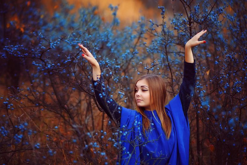 цветовые контрасты, синий и оранжевый, девушка красивая, терновник, сказочная фотография В терновникеphoto preview