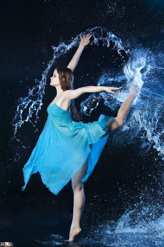аква, студия, импульсный, свет, модель, девушка, платье акваphoto preview