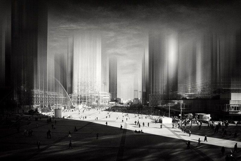 париж, франция, город, дефанс, площадь, здание, архитектура, люди, тень, свет, небо, dyadyavasya Пронзая небоphoto preview