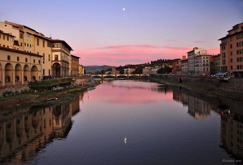 италия, флоренция, река арно, закат Воды спятphoto preview