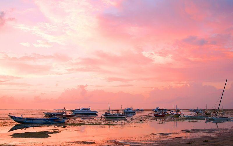morning, horizon, sky, ocean, sunrise, dawn, sun, light, boat, shore, pink, ebb, water, reef, silence, утро, рассвет, восход, океан, лодка Pink sunrise ...photo preview