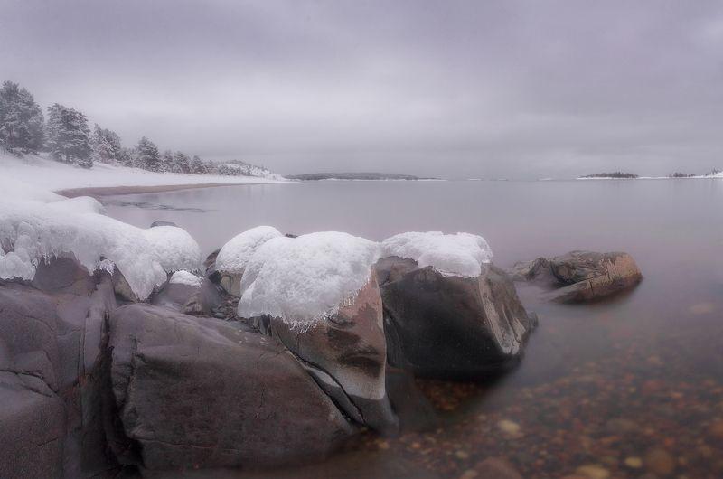 ладога, зима, шхеры, рассвет ,карелия Ладожские каменюгиphoto preview