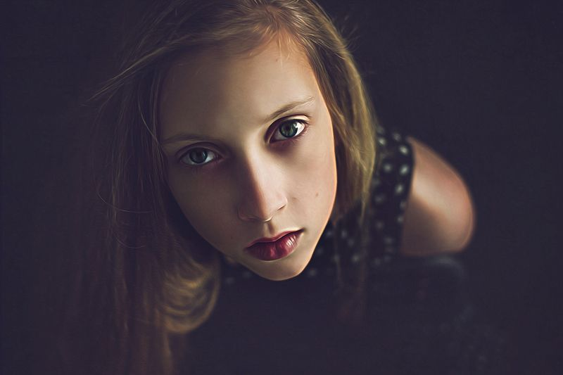 girl, portrait, eyes, look, Paintingphoto preview