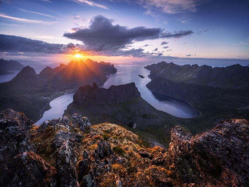 пейзаж норвегия сенья norway keipen закат горы mountains Закат на Кайпенеphoto preview