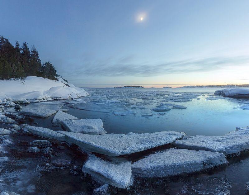 ладога, зима, шхеры, рассвет ,карелия Ладожские сумеркиphoto preview