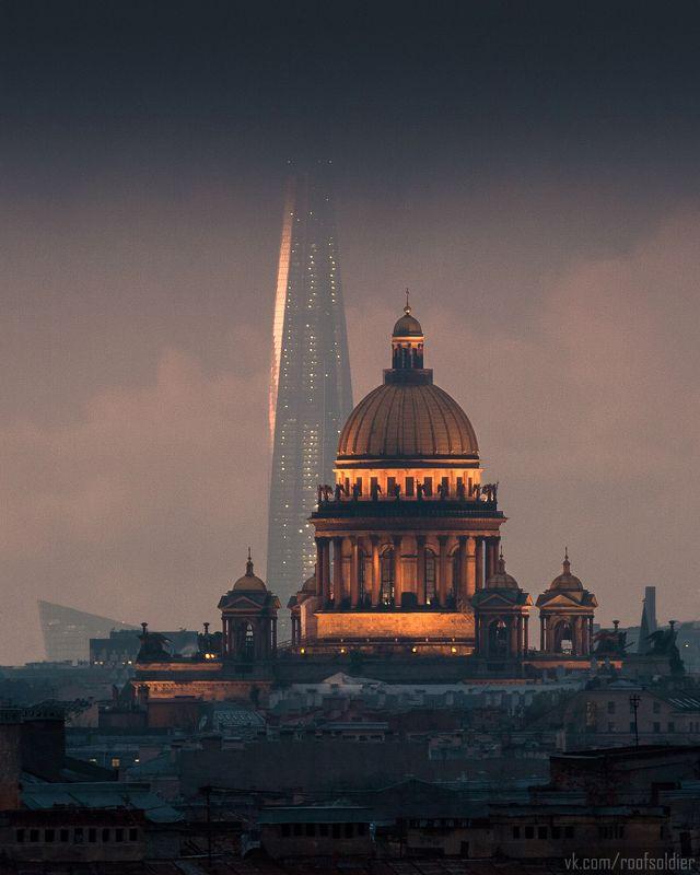 Санкт-Петербург, небоскреб, крыша, собор, церковь, пейзаж, город Исаакиевский собор и Лахта-центрphoto preview