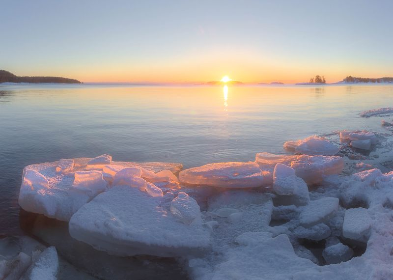ладога, зима, шхеры, рассвет ,карелия Ладожский рассветphoto preview