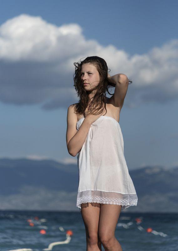 девушка, море, небо, платье, волосы, цвет, портрет photo preview