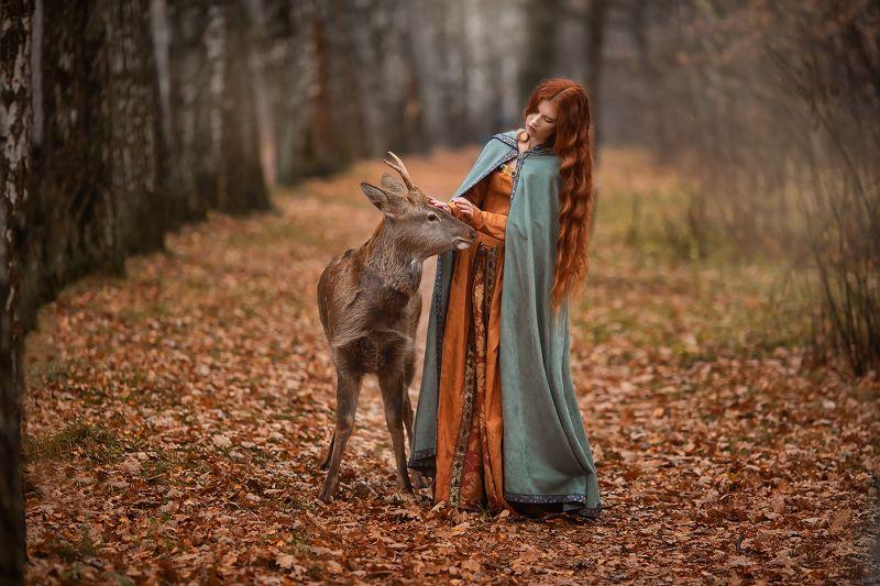 Девушка, Москва, олень, портрет, модель, осень, бармина Олененокphoto preview