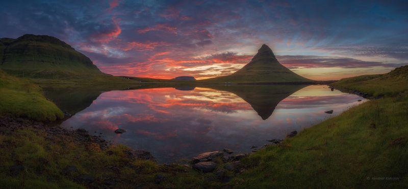 пейзаж, исландия, киркьюфетль Закат у вершины Киркьюфетль... фото превью
