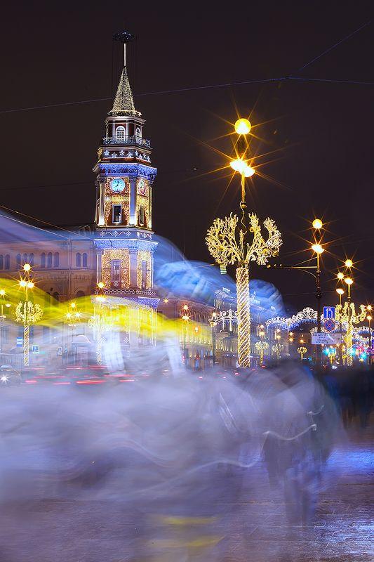 город, улица, вечер, огни, длинная выдержка, санкт-петербург Петербург на длинной выдержкеphoto preview