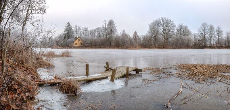 панорама пейзаж латвия озеро зима Frozen lakephoto preview