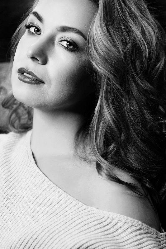красивая, женщина, чб, черно-белая фотография, портрет, блондинка Иринаphoto preview