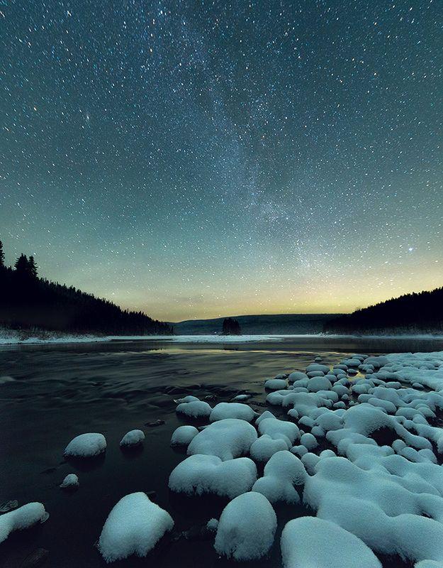 озеро, звезды, паанаярви, карелия, ночь Звезды над озером Паанаярвиphoto preview