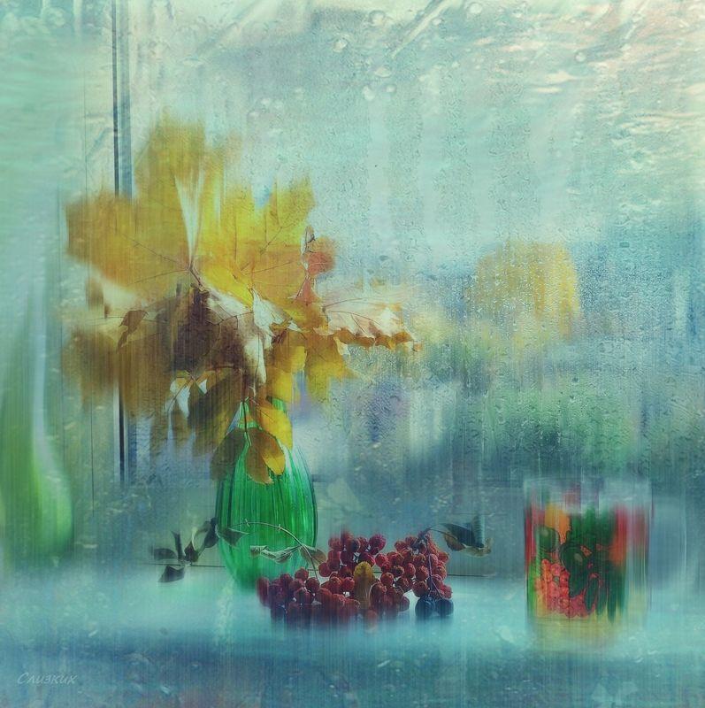 окно,капли,букет,листья,рябина,осень,свет,стекло ***photo preview