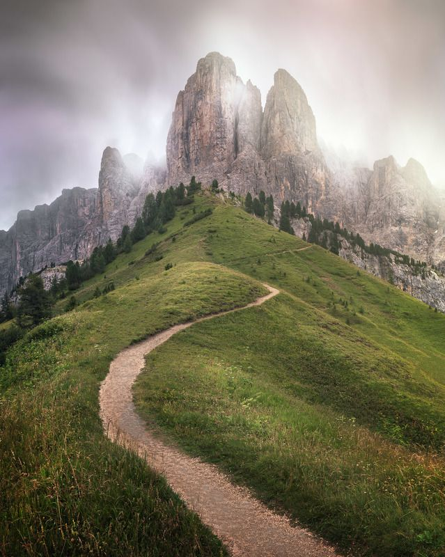 alpine, alps, alto, brunecker, cliff, clouds, dolomites, europe, gardena, grass, green, group, hiking, hill, italia, italian, italy, landscape, light, meadow, morning, mountain, nature, pass, pasture, path, peak, resort, ridge, road, rock, sella, sky, sou The Path to Ascensionphoto preview