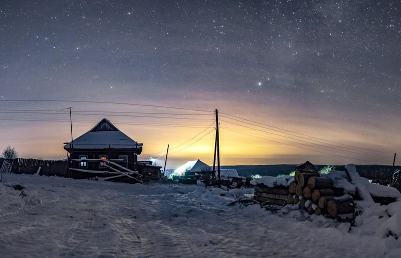 пермский край, зима, снег, астрофото, звезды Однажды ночьюphoto preview