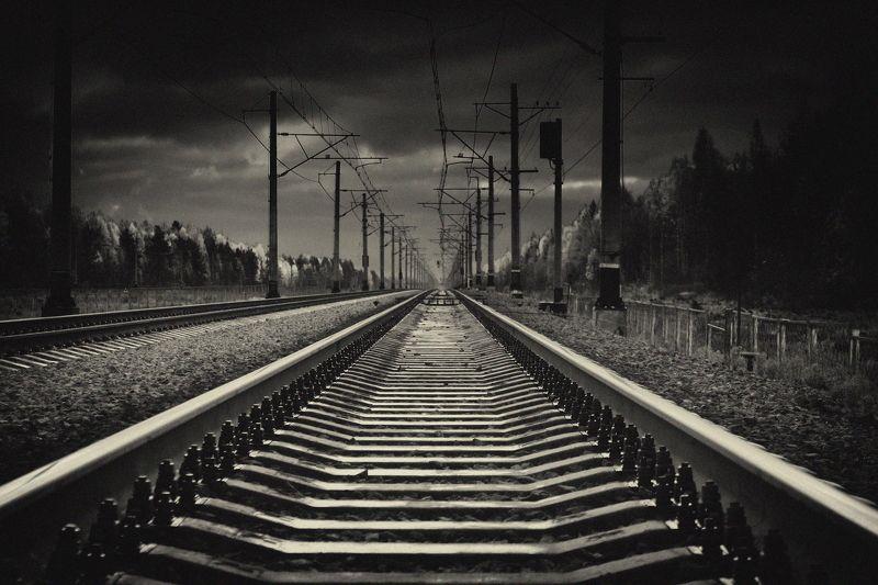 дорога, мрак, путь, рельсы, шпалы roadphoto preview