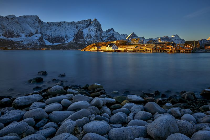 norway, lofoten, sea, sun, rays In the first rays of the sunphoto preview