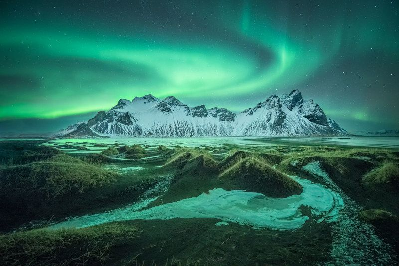 Iceland, Vestrahorn, Aurora Never travel to Iceland.photo preview