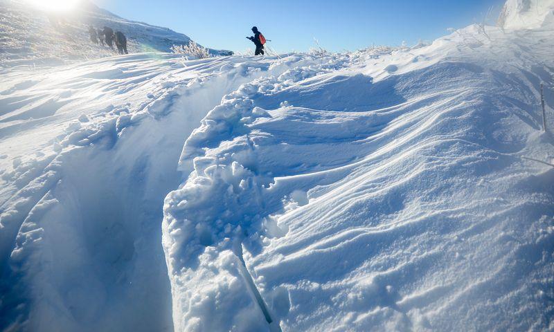 снег, рельеф, тропа, горы,  Снежные рельефыphoto preview