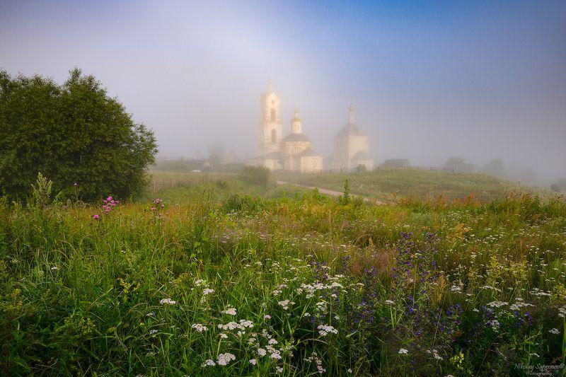 рязанская область, касимовский район, гусь, ока, храмы, лето, туман, летнее утро, утренний пейзаж, русский пейзаж, разнотравье, цветочный луг, луг \