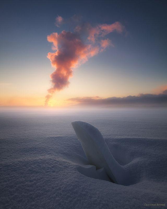 зима, снег, река, закат, вечер, мороз, туман, дым, лед Снежная пустыняphoto preview