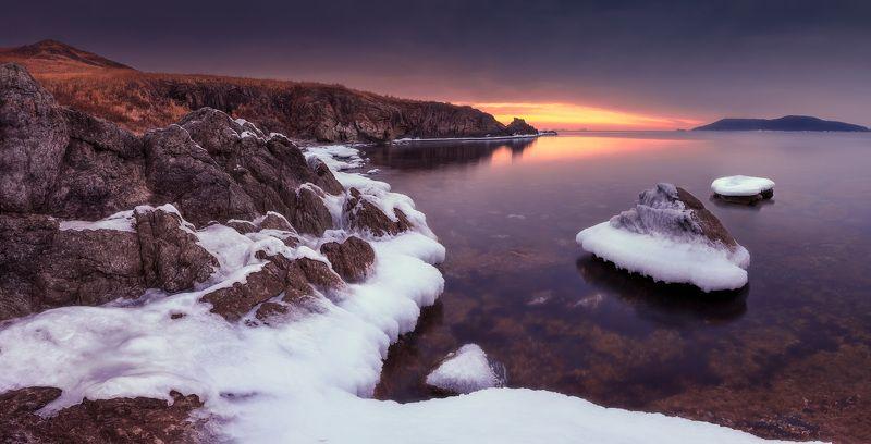 зима, море, скалы, лёд, утро ***photo preview