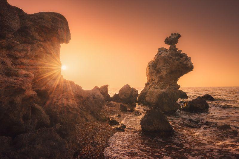 крым, море, закат, солнце, скалы, пейзаж, природа, фототур в крым, фототур по крыму, путешествия, туризм, отдых в крыму Встреча с моремphoto preview