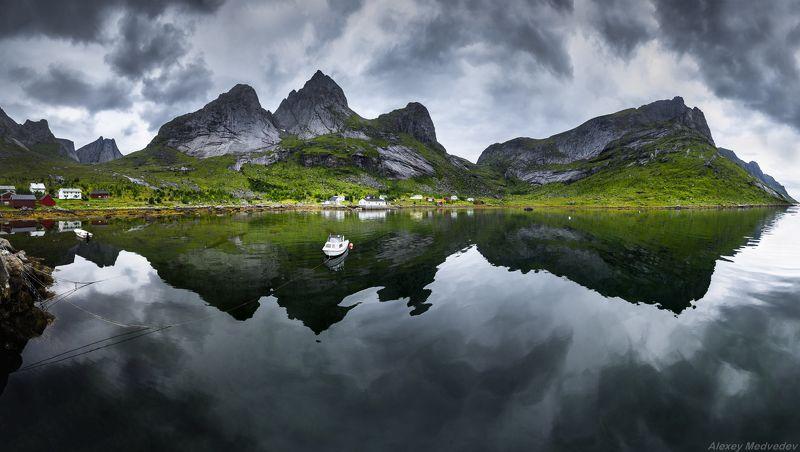 lofoten, summer, norway, cold, fjord, dark, rocks, mountains, lake, green,  Kirkefjordphoto preview