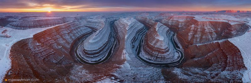 gooseneks, utah, sunrise, snow, extreme Гусиные Шейки со Снегомphoto preview