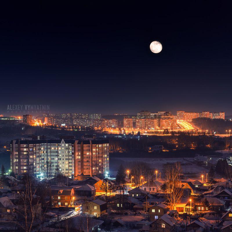томск, сибирь, зима, ночь, луна, огни, tomsk, siberia, winter, moon, night, lights Луна над Томскомphoto preview