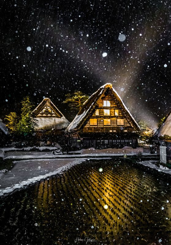 winter snow japan gifu night nightscape nature old house [ Silence Winter Beauty ]photo preview