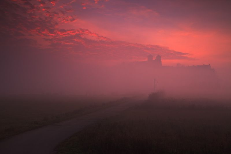 monastery, morning, sunrise, clouds, sky, mist, mood, tyniec, road, light Secrets of monasteryphoto preview