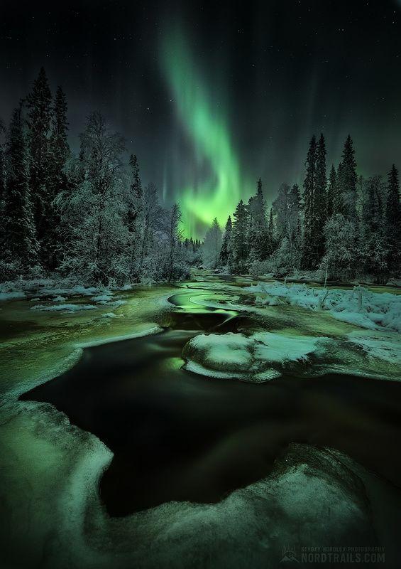 кольский, кольский полуостров, кандалакша, северное сияние, полярное сияние, север Зелёный огоньphoto preview
