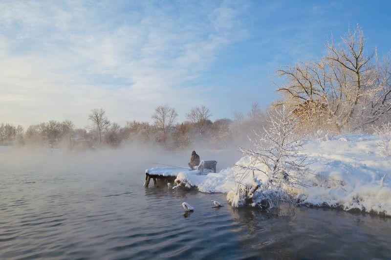 озеро, горячка, зима, январь, рыбак, рыбалка Ожидание в январеphoto preview